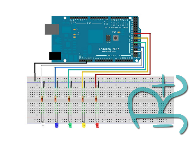 Esquema gráfico del tutorial con varios led