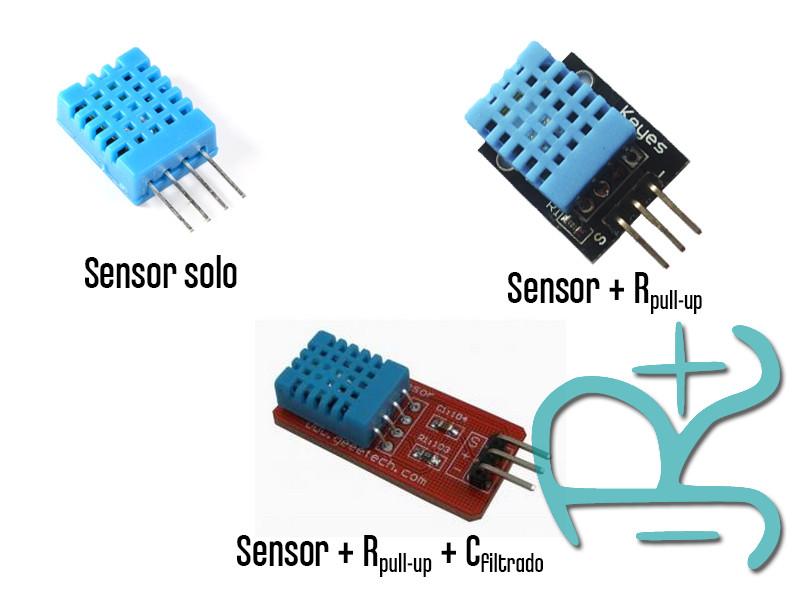 Diferentes encapsulados del sensor DHT11